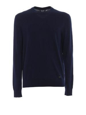Woolrich: crew necks - Dark blue cotton crew neck pullover