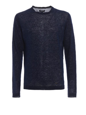 Woolrich: crew necks - Dark blue melange linen sweater