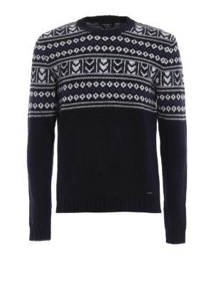 Woolrich: crew necks - Jacquard wool blend heavy sweater