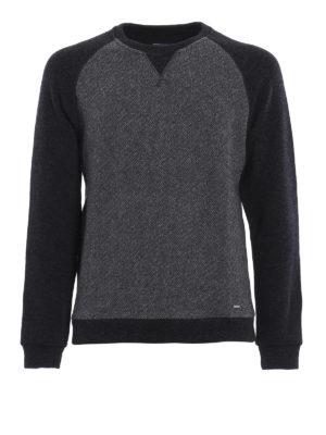 Woolrich: crew necks - Melange panelled wool blend sweater