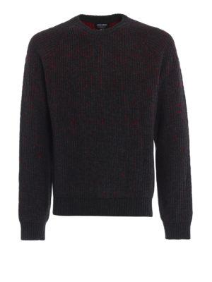 WOOLRICH: maglia collo rotondo - Girocollo in jersey grigio con micro motivo