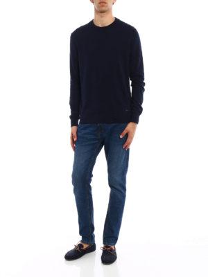 Woolrich: crew necks online - Dark blue cotton crew neck pullover