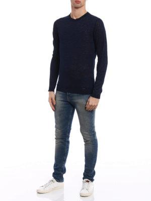 Woolrich: crew necks online - Dark blue melange linen sweater