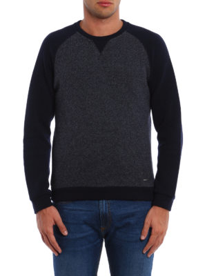 Woolrich: crew necks online - Melange panelled wool blend sweater