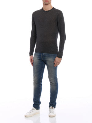 Woolrich: crew necks online - Solid dark grey linen sweater
