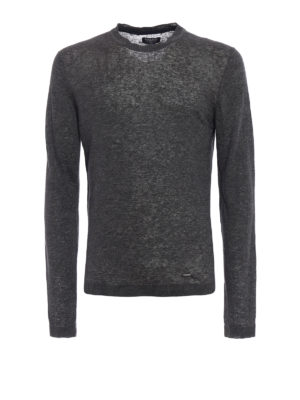 Woolrich: crew necks - Solid dark grey linen sweater