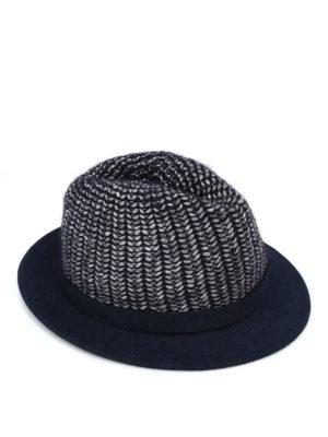 WOOLRICH: cappelli - Cappello blu scuro in maglia e feltro