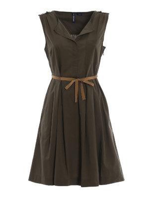 Woolrich: knee length dresses - Army green sleeveless dress