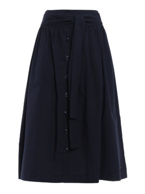 Woolrich: Knee length skirts & Midi - Belted flared midi skirt
