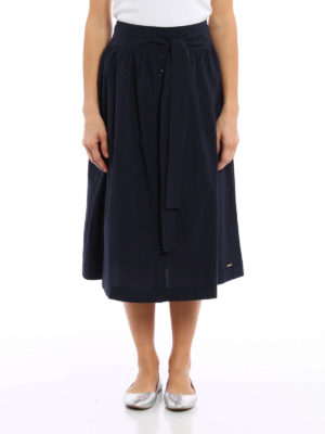 Woolrich: Knee length skirts & Midi online - Belted flared midi skirt