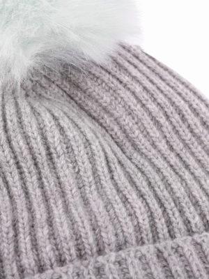 WOOLRICH: berretti online - Berretto misto lana con pompon in pelliccia