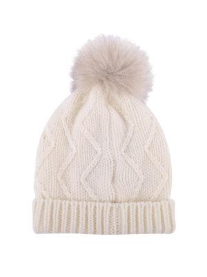 WOOLRICH: berretti online - Berretto in lana con targhetta logo e pompon