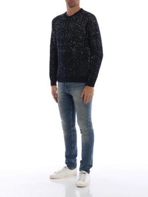 WOOLRICH: maglia collo rotondo online - Girocollo in jersey blu con micro motivo