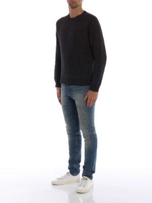 WOOLRICH: maglia collo rotondo online - Girocollo in jersey grigio con micro motivo
