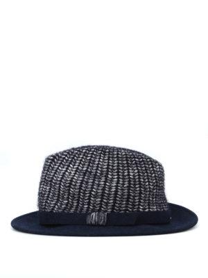 WOOLRICH: cappelli online - Cappello blu scuro in maglia e feltro