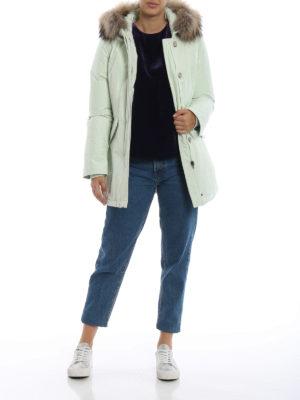 WOOLRICH: cappotti imbottiti online - Piumino Arctic Parka verde acqua