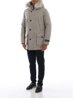 WOOLRICH: cappotti imbottiti online - Artic parka in panno Loro Piana con pelliccia