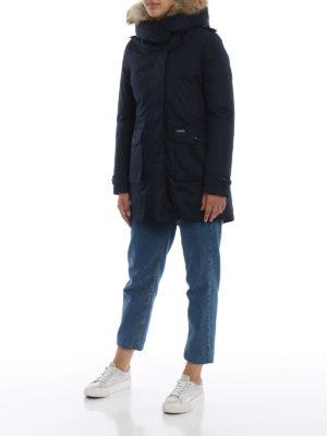 WOOLRICH: cappotti imbottiti online - Piumino Scarlett Parka blu scuro due in uno