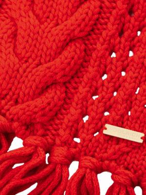 WOOLRICH: sciarpe e foulard online - Sciarpa in lana a trecce rossa con frange