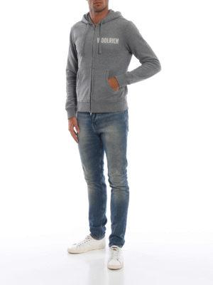 WOOLRICH: Felpe e maglie online - Felpa pesante grigia con zip e cappuccio