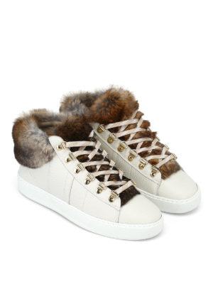 WOOLRICH: sneakers online - Sneaker in pelle avorio e pelliccia