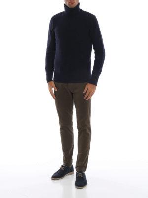 WOOLRICH: maglia a collo alto e polo online - Dolcevita blu in lana a coste inglesi