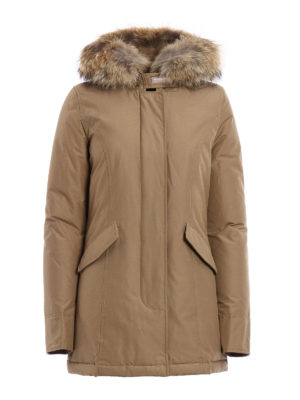 Woolrich: padded coats - Artic fur trimmed down short coat
