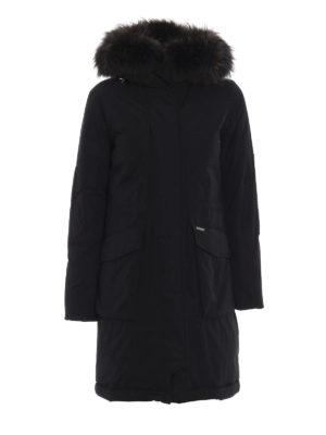 WOOLRICH: cappotti imbottiti - Military Parka nero con pelliccia