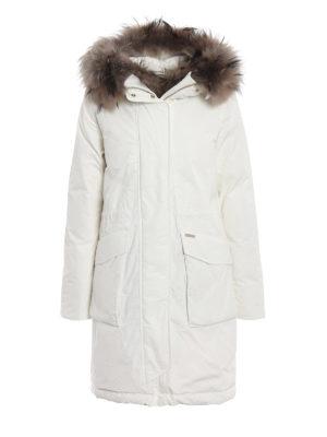 WOOLRICH: cappotti imbottiti - Military Parka bianco con pelliccia