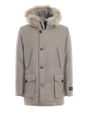 WOOLRICH: cappotti imbottiti - Artic parka in panno Loro Piana con pelliccia