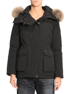 Woolrich: padded jackets online - Short Military black down parka