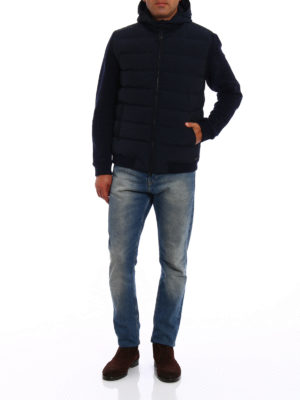 Woolrich: padded jackets online - Wool sleeved padded bomber jacket