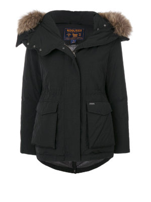 Woolrich: padded jackets - Short Military black down parka