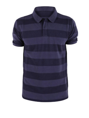Woolrich: polo shirts - Striped stretch pique cotton polo