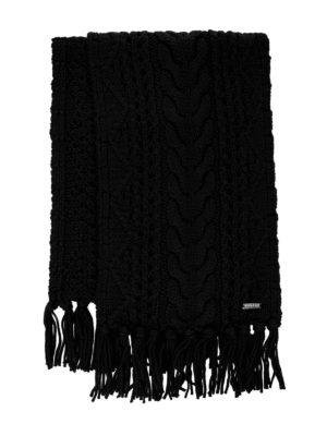 WOOLRICH: sciarpe e foulard - Sciarpa in lana a trecce nera con frange