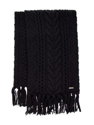 WOOLRICH: sciarpe e foulard - Sciarpa in lana a trecce blu con frange