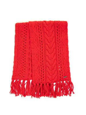 WOOLRICH: sciarpe e foulard - Sciarpa in lana a trecce rossa con frange