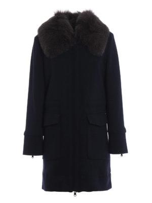 WOOLRICH: cappotti corti - Cappotto in lana e cotone con collo di volpe