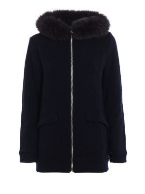 Woolrich: short coats - Fur insert wool and cotton coat