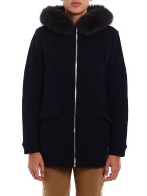 Woolrich: short coats online - Fur insert wool and cotton coat