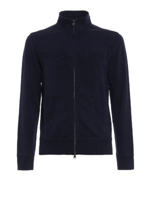 Woolrich: Sweatshirts & Sweaters - Basic logo blue track sweat jacket