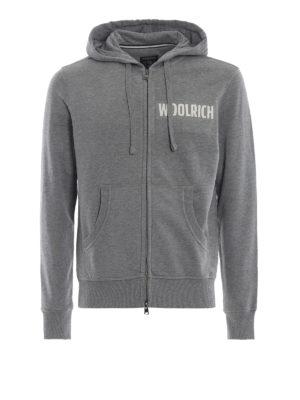 WOOLRICH: Felpe e maglie - Felpa pesante grigia con zip e cappuccio