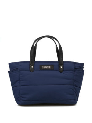 WOOLRICH: shopper - Tote piccola imbottita  in nylon blu