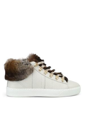 WOOLRICH: sneakers - Sneaker in pelle avorio e pelliccia