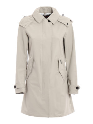 Woolrich: trench coats - Fitted single-breasted beige trench