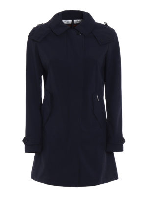 Woolrich: trench coats - Fitted single-breasted blue trench