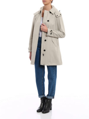 Woolrich: trench coats online - Fitted single-breasted beige trench