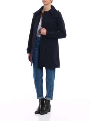 Woolrich: trench coats online - Fitted single-breasted blue trench
