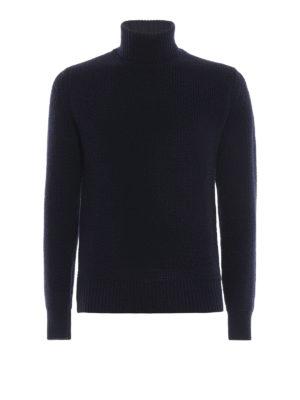 WOOLRICH: maglia a collo alto e polo - Dolcevita blu in lana a coste inglesi