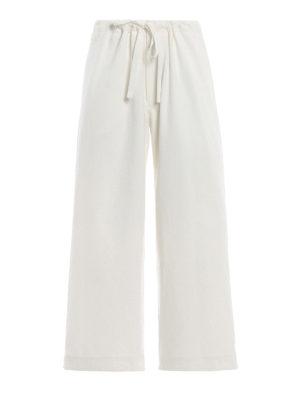 Y'S: pantaloni casual - Pantaloni a gamba ampia in cotone bianco